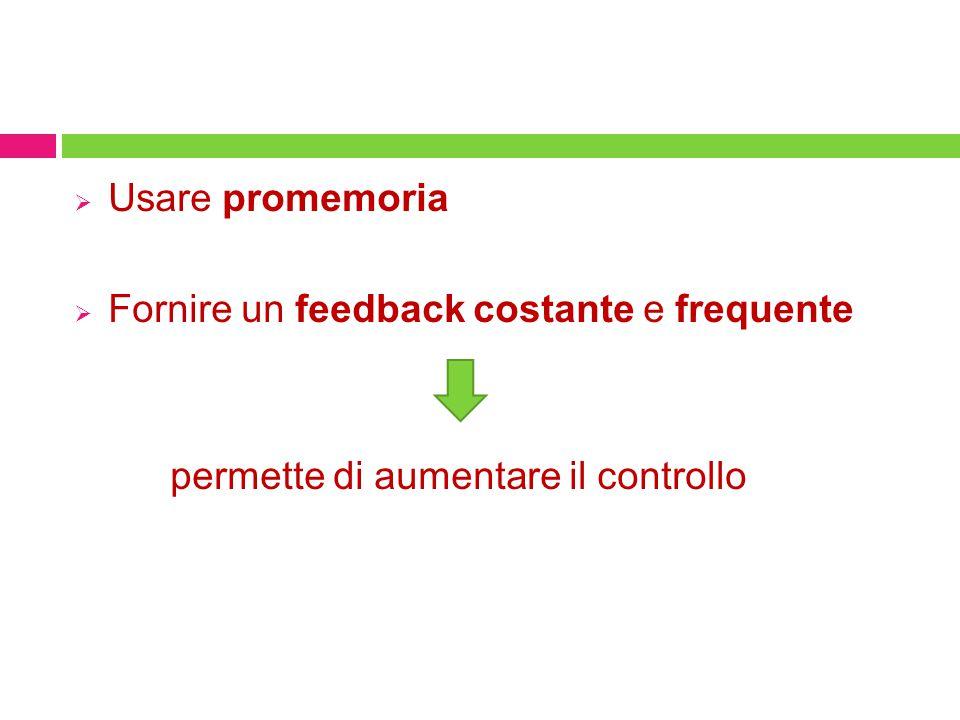Usare promemoria Fornire un feedback costante e frequente permette di aumentare il controllo