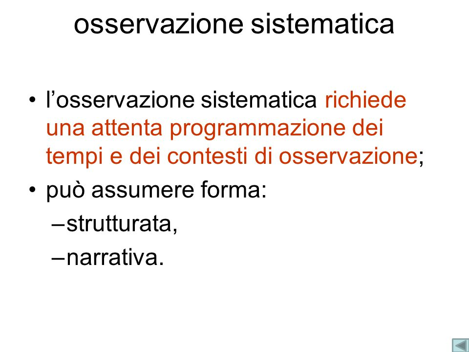 osservazione sistematica
