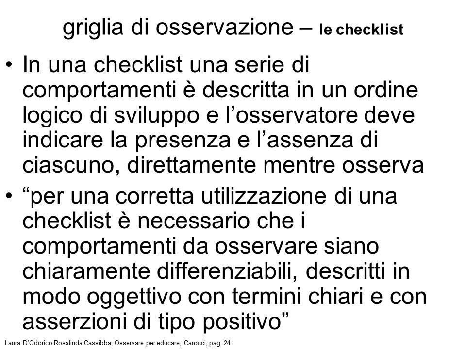 griglia di osservazione – le checklist