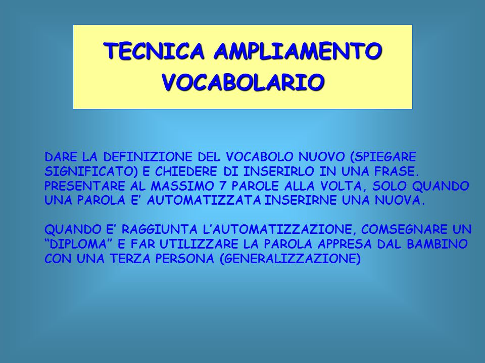 TECNICA AMPLIAMENTO VOCABOLARIO