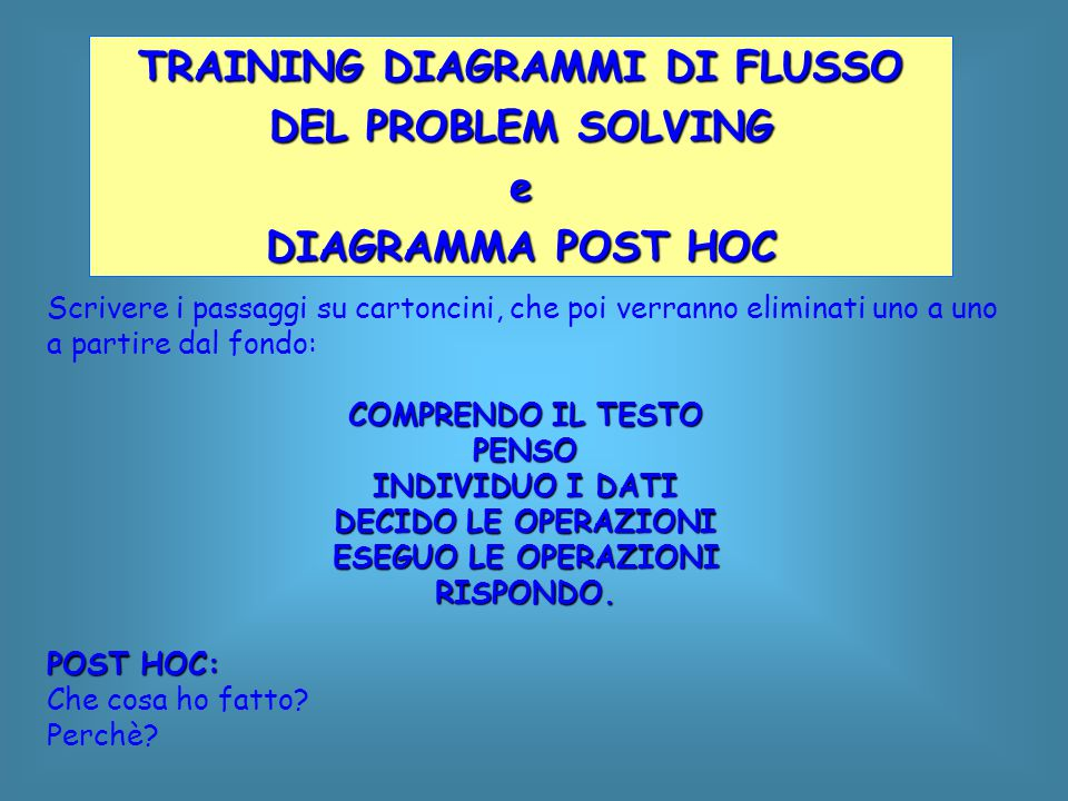 TRAINING DIAGRAMMI DI FLUSSO