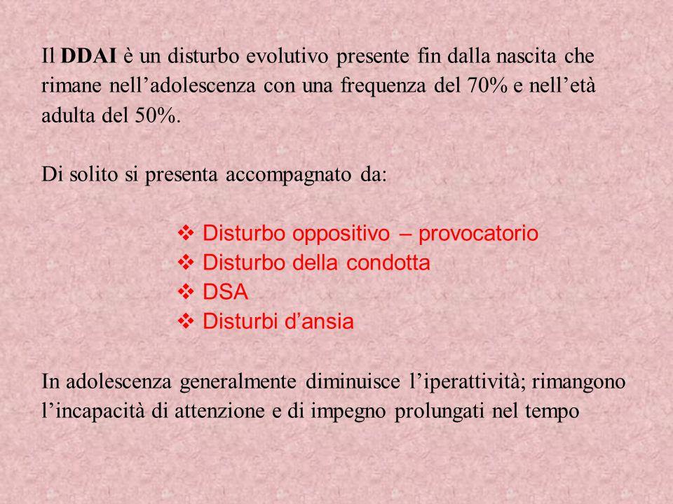 Il DDAI è un disturbo evolutivo presente fin dalla nascita che