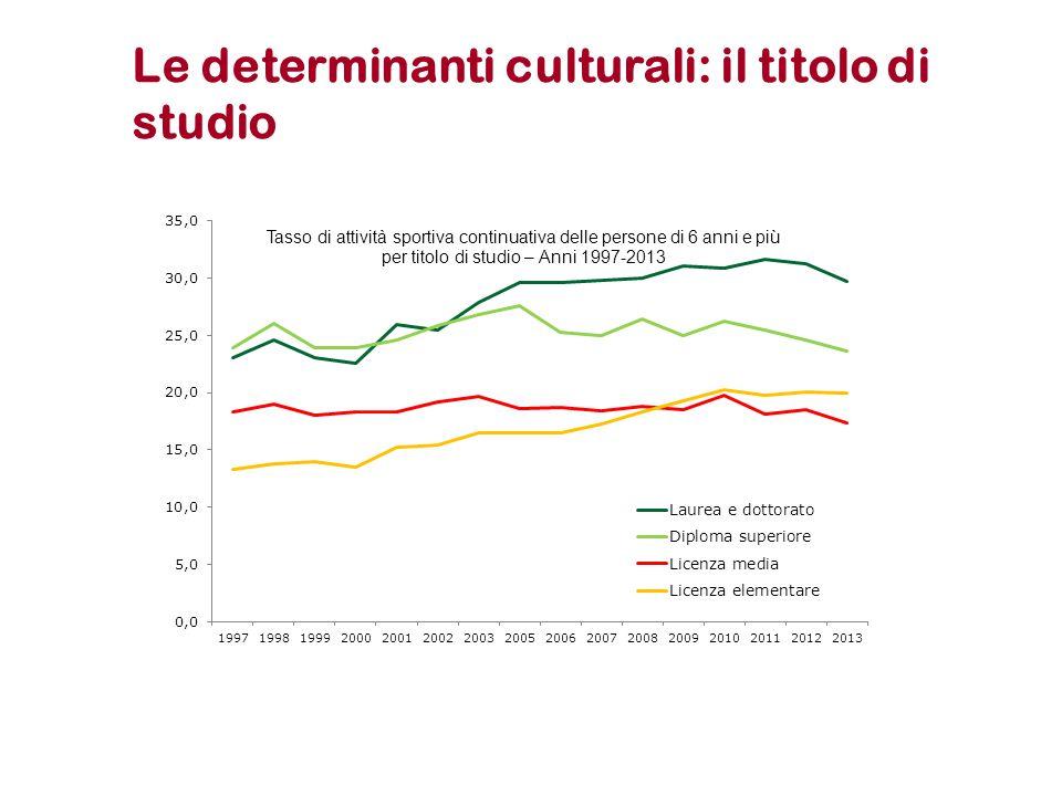 Le determinanti culturali: il titolo di studio