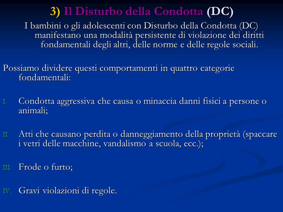3) Il Disturbo della Condotta (DC)