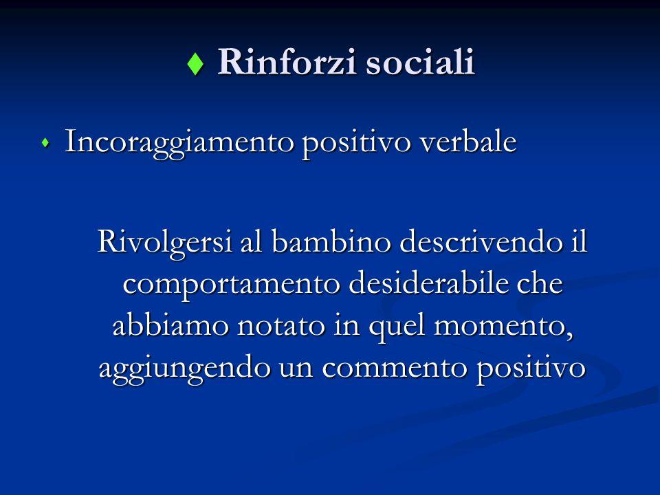 Rinforzi sociali Incoraggiamento positivo verbale