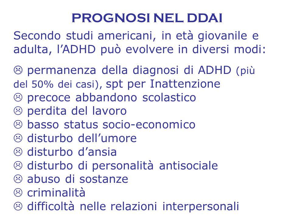 PROGNOSI NEL DDAI Secondo studi americani, in età giovanile e adulta, l'ADHD può evolvere in diversi modi: