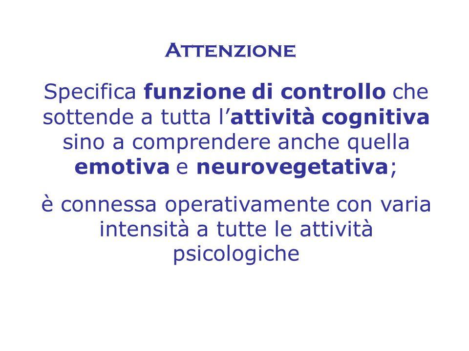 Attenzione Specifica funzione di controllo che sottende a tutta l'attività cognitiva sino a comprendere anche quella emotiva e neurovegetativa;