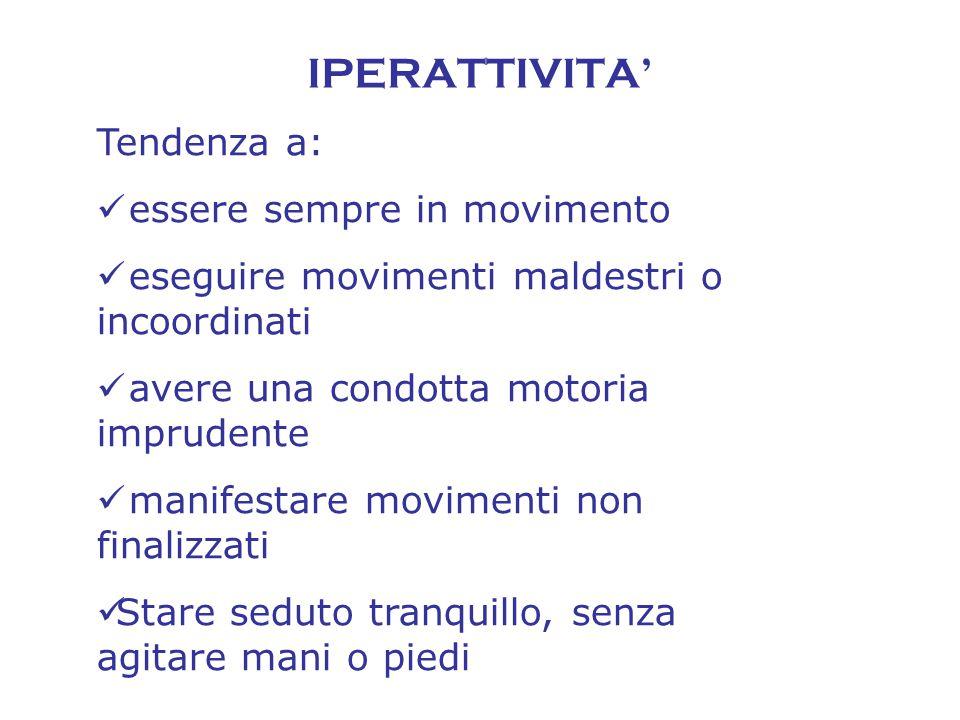 IPERATTIVITA' Tendenza a: essere sempre in movimento