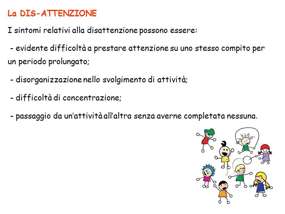 La DIS-ATTENZIONE I sintomi relativi alla disattenzione possono essere: