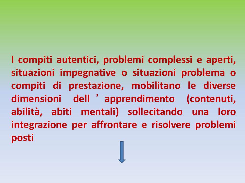 I compiti autentici, problemi complessi e aperti, situazioni impegnative o situazioni problema o compiti di prestazione, mobilitano le diverse dimensioni dell'apprendimento (contenuti, abilità, abiti mentali) sollecitando una loro integrazione per affrontare e risolvere problemi posti