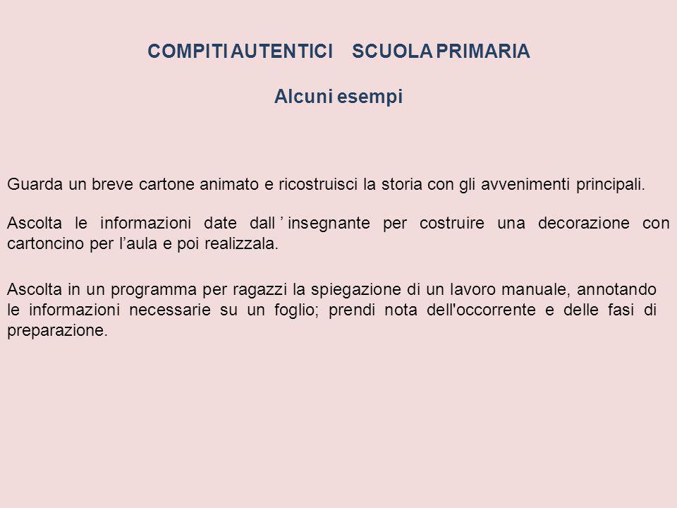 COMPITI AUTENTICI SCUOLA PRIMARIA