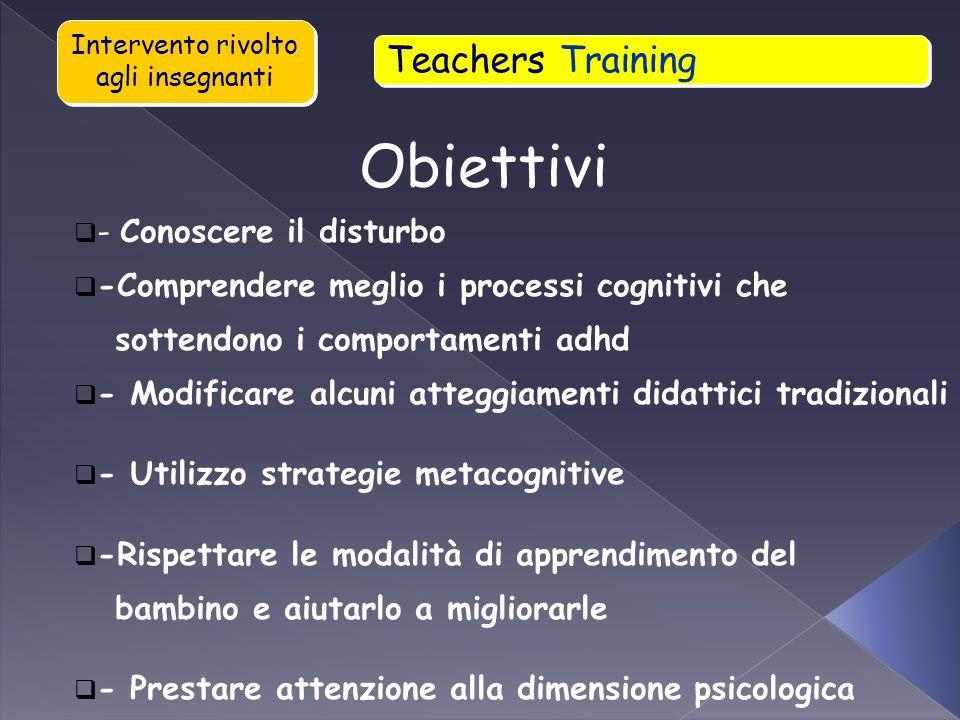 Obiettivi Teachers Training - Conoscere il disturbo