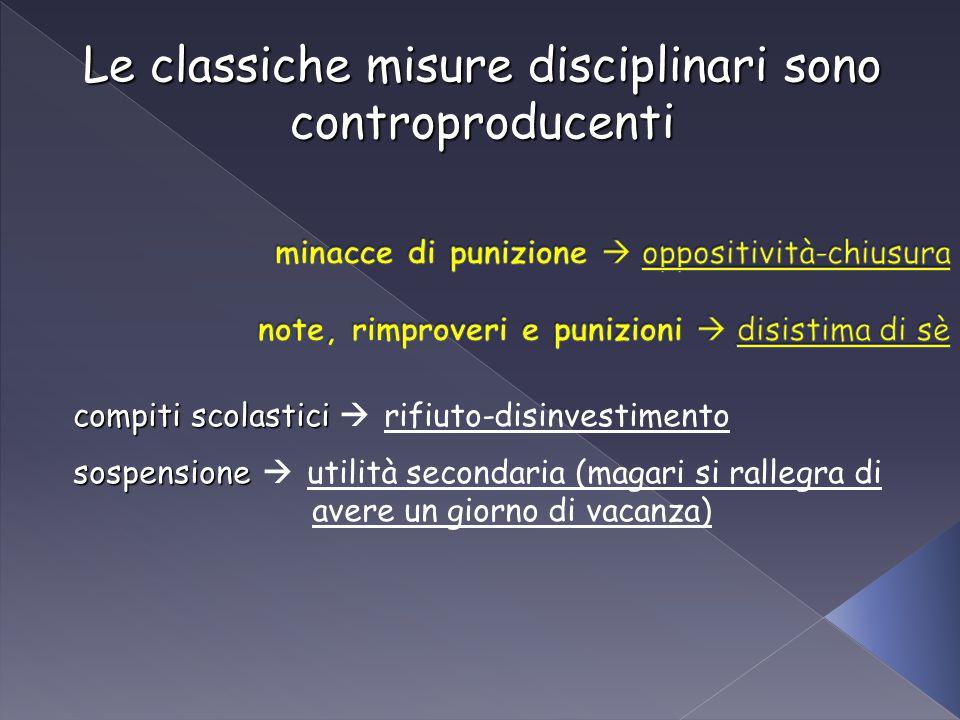 Le classiche misure disciplinari sono controproducenti