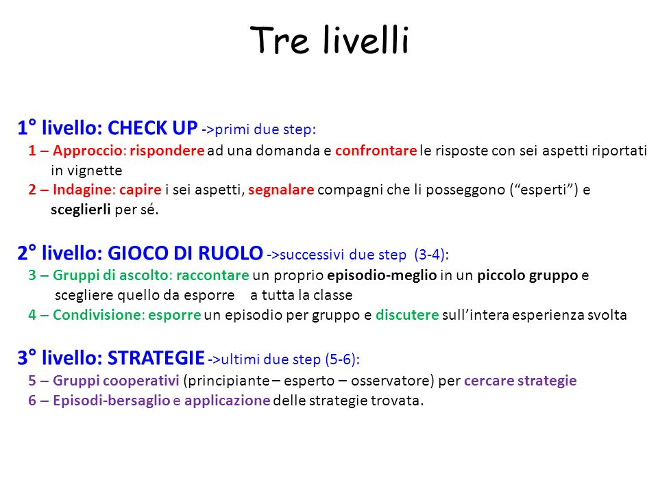 Tre livelli 1° livello: CHECK UP ->primi due step: