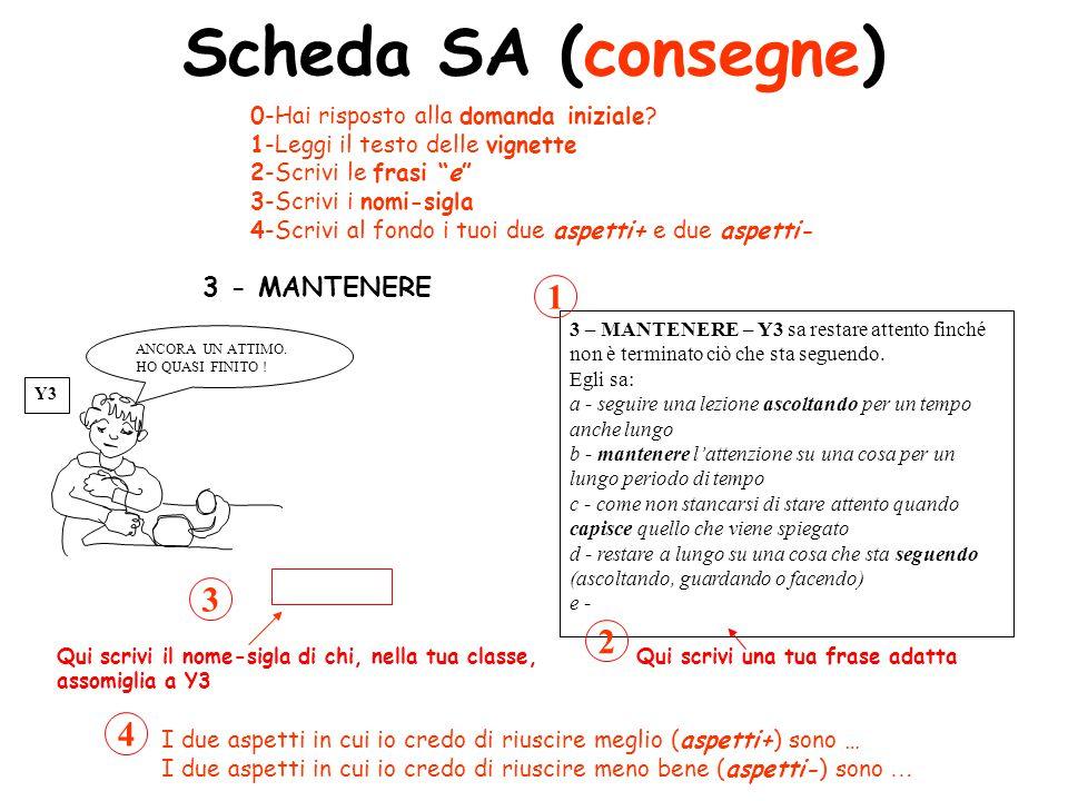 Scheda SA (consegne) 1 3 2 4 3 - MANTENERE