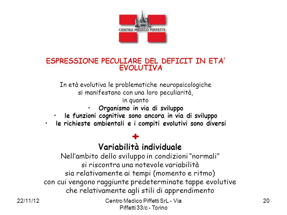 ESPRESSIONE PECULIARE DEL DEFICIT IN ETA' EVOLUTIVA