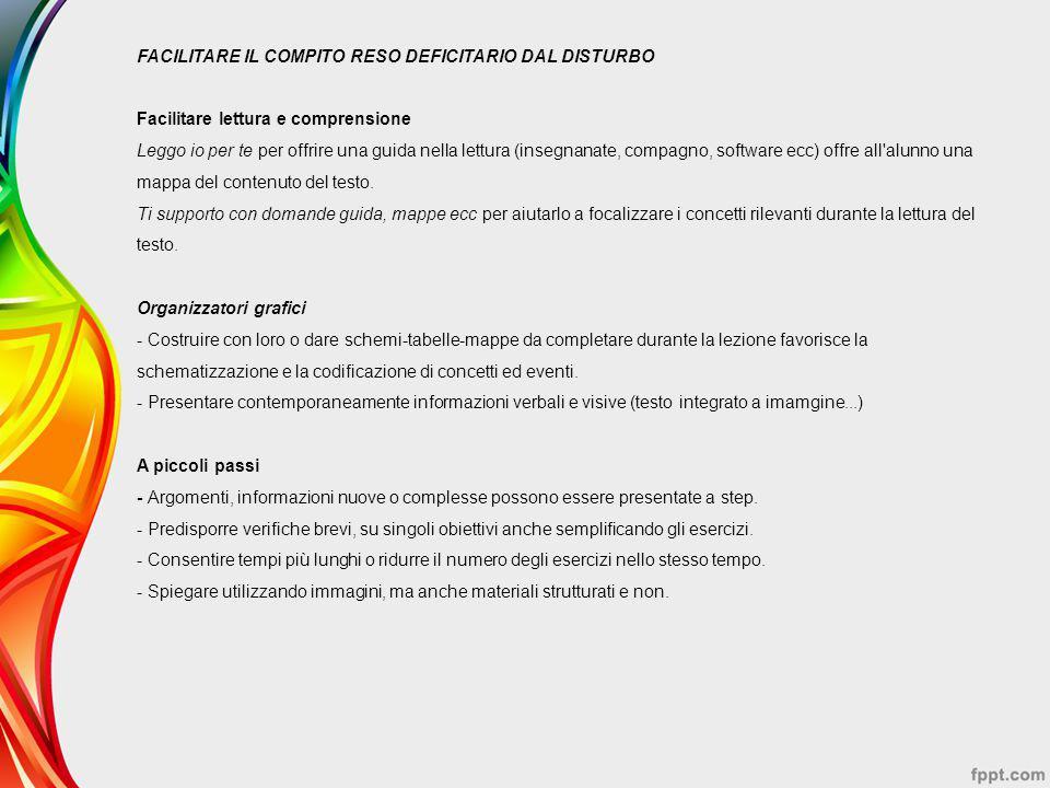 FACILITARE IL COMPITO RESO DEFICITARIO DAL DISTURBO