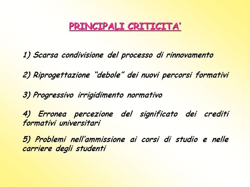 PRINCIPALI CRITICITA'