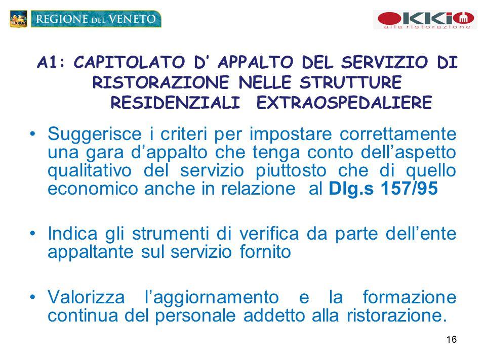 A1: CAPITOLATO D' APPALTO DEL SERVIZIO DI RISTORAZIONE NELLE STRUTTURE