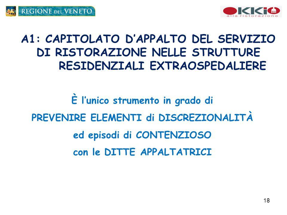 A1: CAPITOLATO D'APPALTO DEL SERVIZIO DI RISTORAZIONE NELLE STRUTTURE