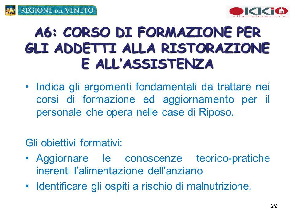 A6: CORSO DI FORMAZIONE PER GLI ADDETTI ALLA RISTORAZIONE E ALL'ASSISTENZA