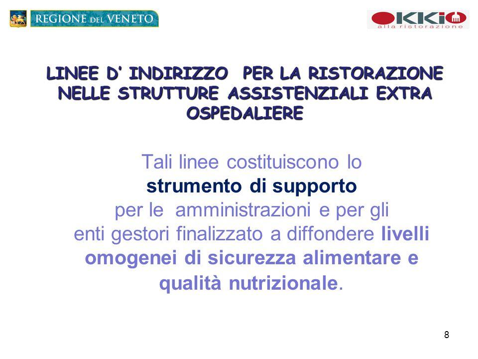 LINEE D' INDIRIZZO PER LA RISTORAZIONE NELLE STRUTTURE ASSISTENZIALI EXTRA OSPEDALIERE