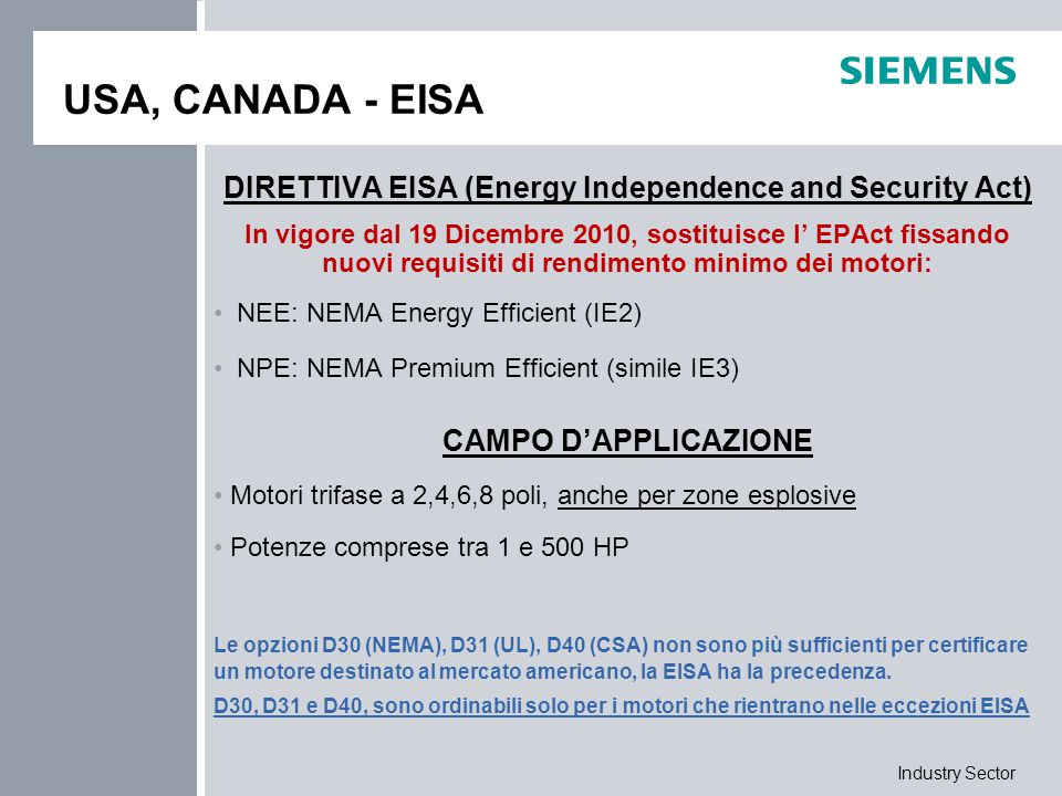 DIRETTIVA EISA (Energy Independence and Security Act)