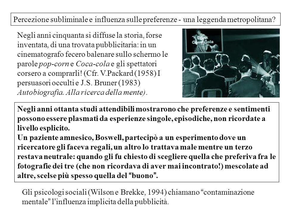 Percezione subliminale e influenza sulle preferenze - una leggenda metropolitana