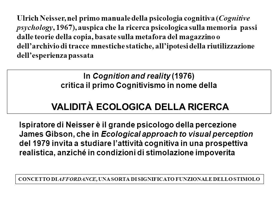 VALIDITÀ ECOLOGICA DELLA RICERCA