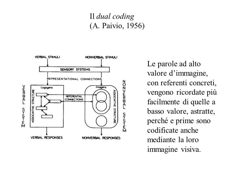 Il dual coding (A. Paivio, 1956)