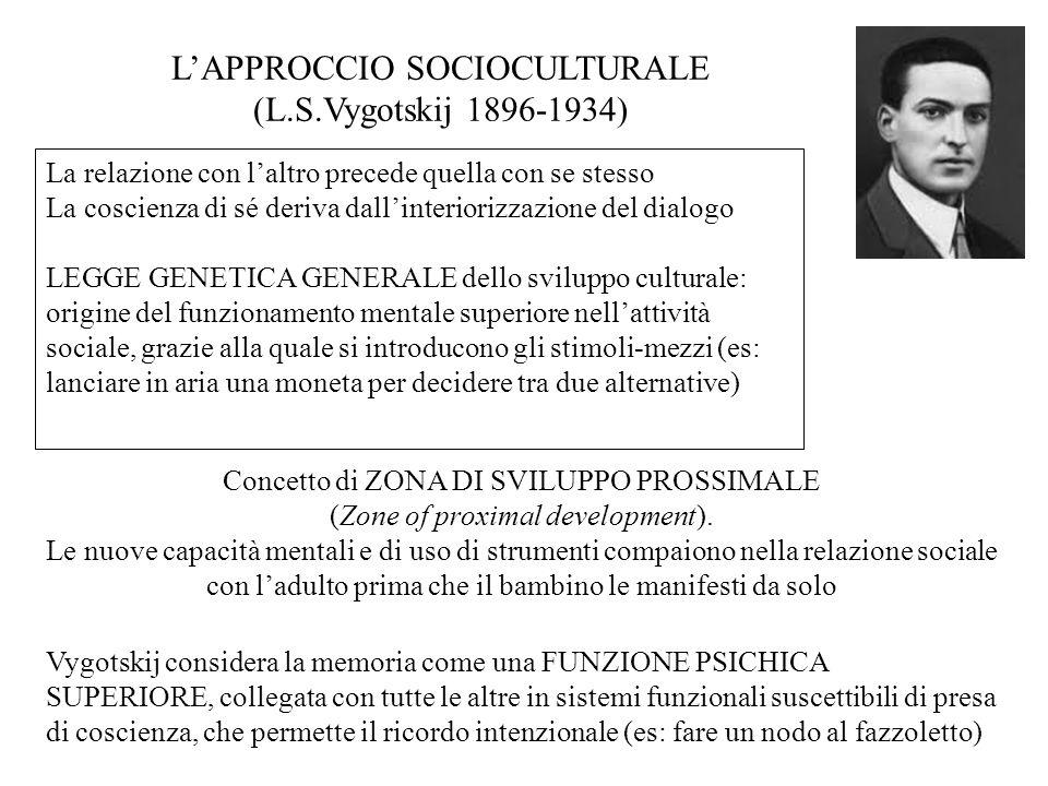 L'APPROCCIO SOCIOCULTURALE (L.S.Vygotskij 1896-1934)