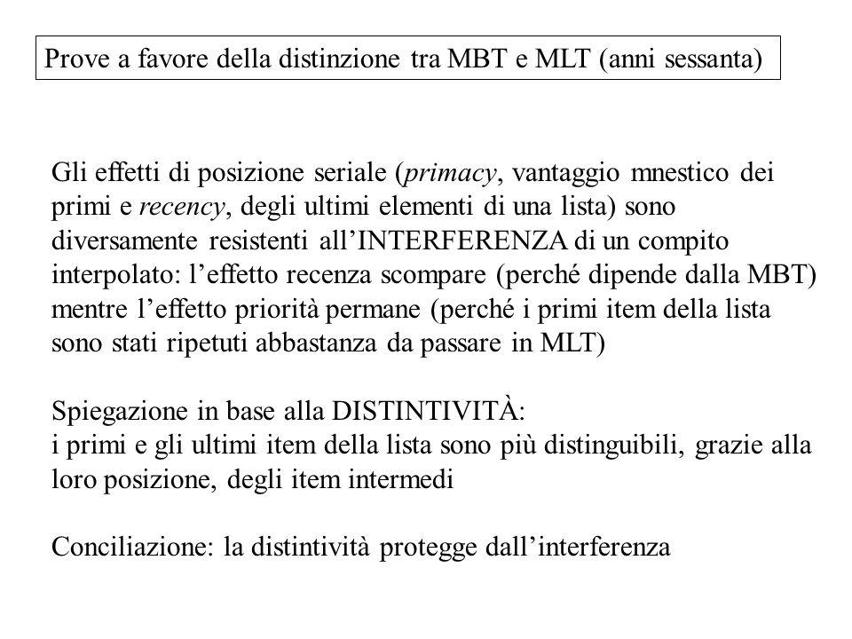 Prove a favore della distinzione tra MBT e MLT (anni sessanta)