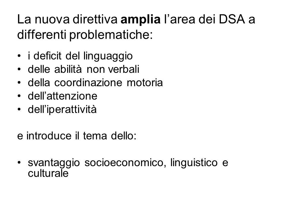 La nuova direttiva amplia l'area dei DSA a differenti problematiche: