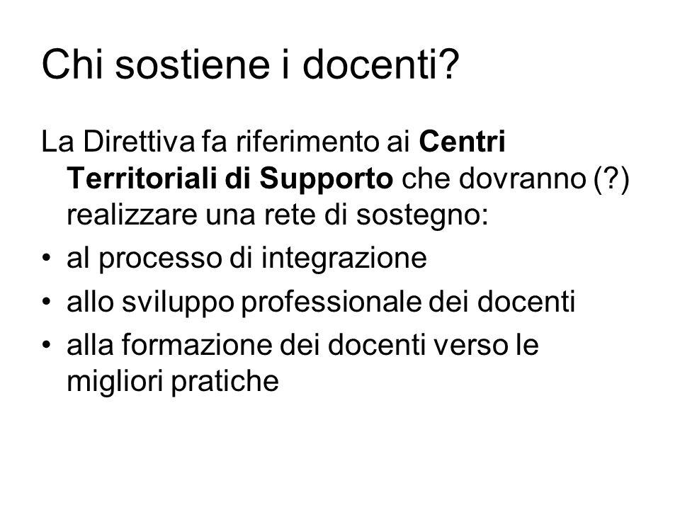 Chi sostiene i docenti La Direttiva fa riferimento ai Centri Territoriali di Supporto che dovranno ( ) realizzare una rete di sostegno: