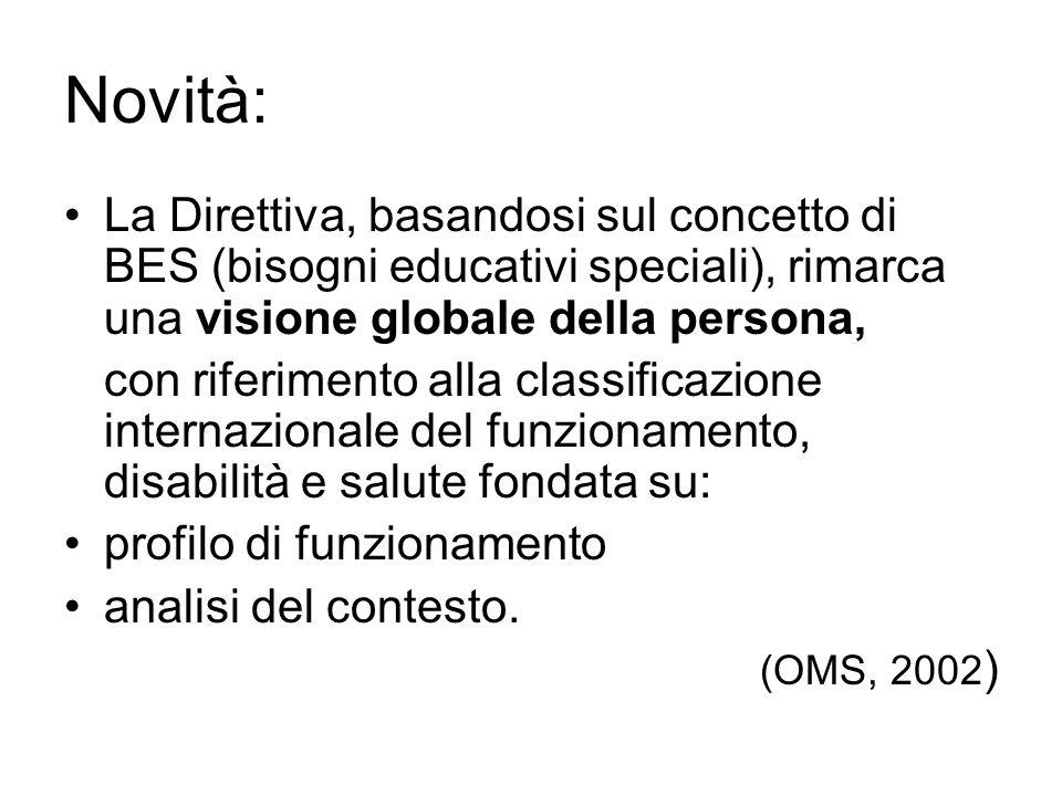 Novità: La Direttiva, basandosi sul concetto di BES (bisogni educativi speciali), rimarca una visione globale della persona,