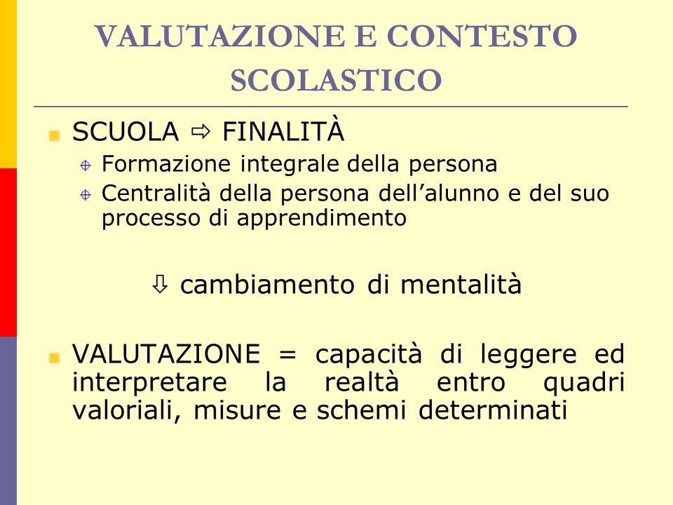VALUTAZIONE E CONTESTO SCOLASTICO