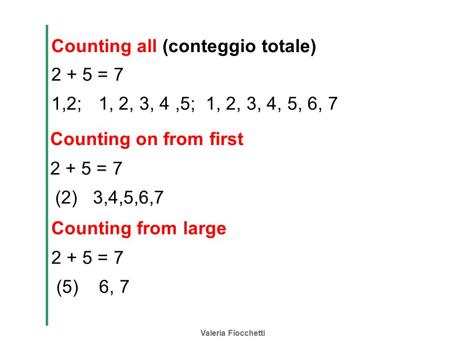 Counting all (conteggio totale) 2 + 5 = 7