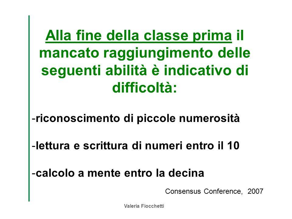 Alla fine della classe prima il mancato raggiungimento delle seguenti abilità è indicativo di difficoltà: