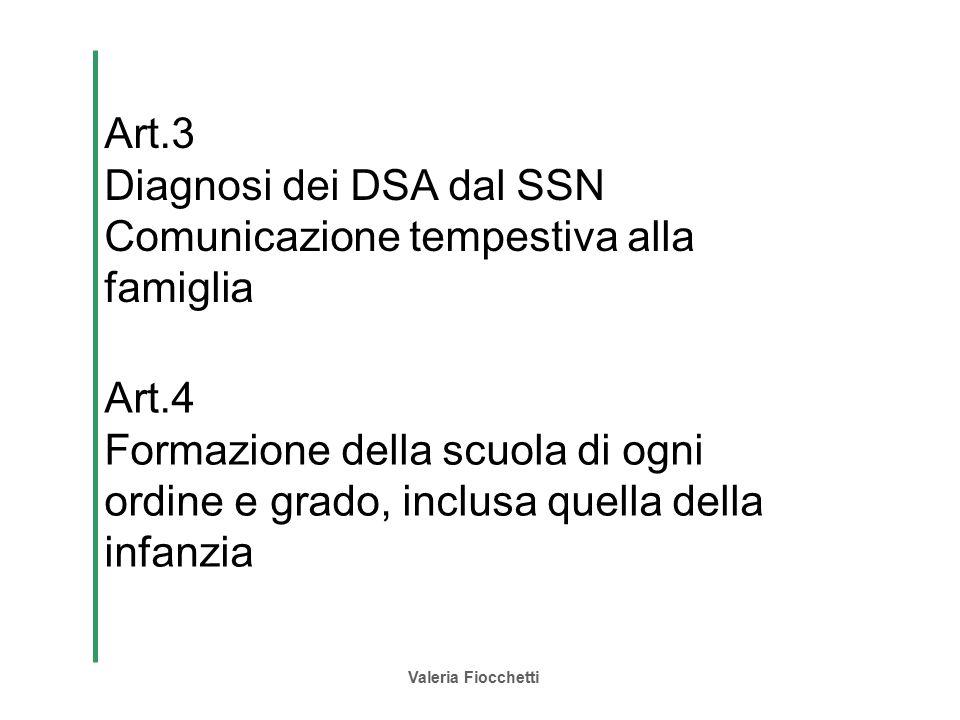 Diagnosi dei DSA dal SSN Comunicazione tempestiva alla famiglia