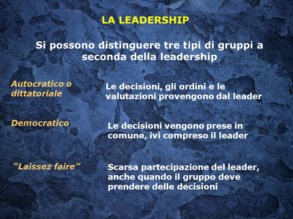 Si possono distinguere tre tipi di gruppi a seconda della leadership