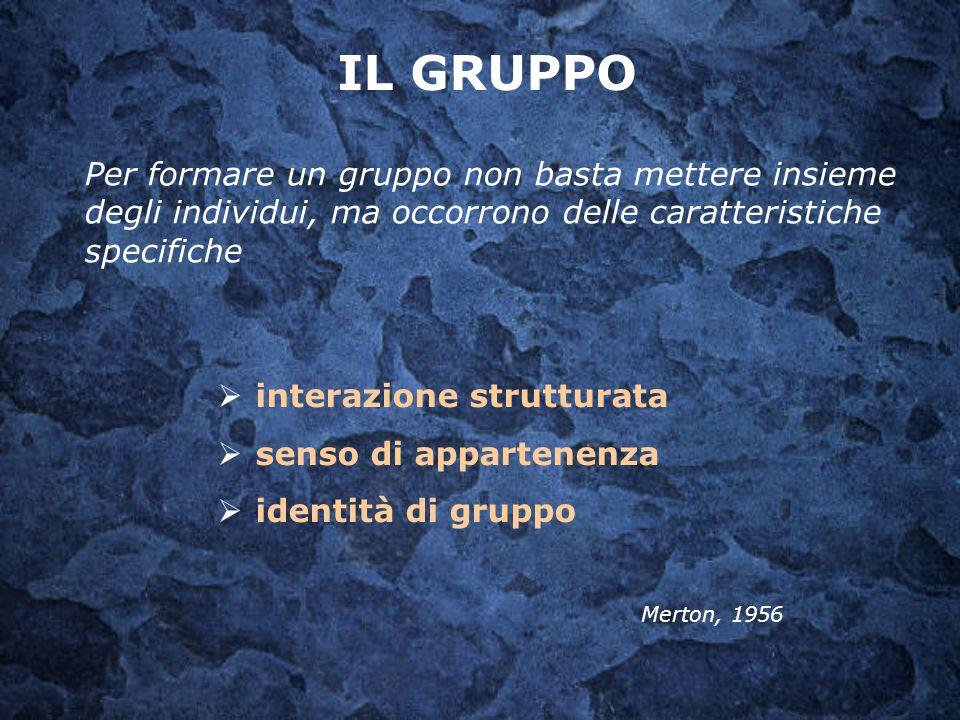 IL GRUPPO Per formare un gruppo non basta mettere insieme degli individui, ma occorrono delle caratteristiche specifiche.