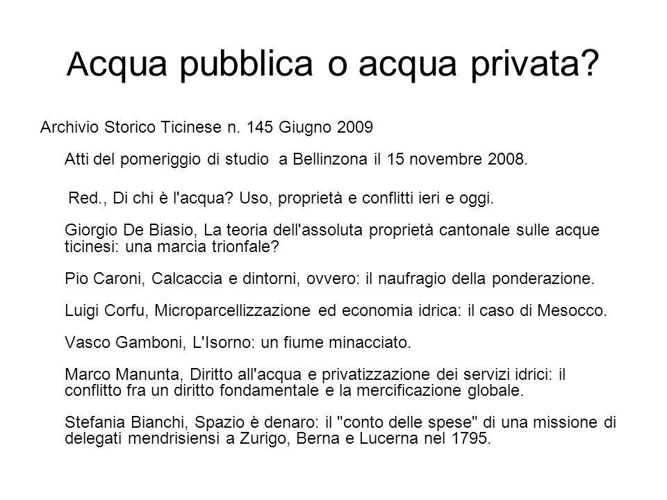 Acqua pubblica o acqua privata