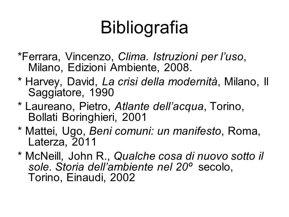Bibliografia *Ferrara, Vincenzo, Clima. Istruzioni per l'uso, Milano, Edizioni Ambiente, 2008.