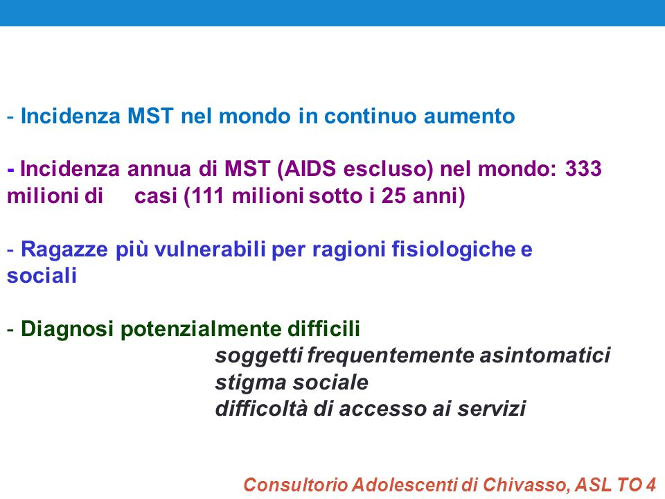 Incidenza MST nel mondo in continuo aumento