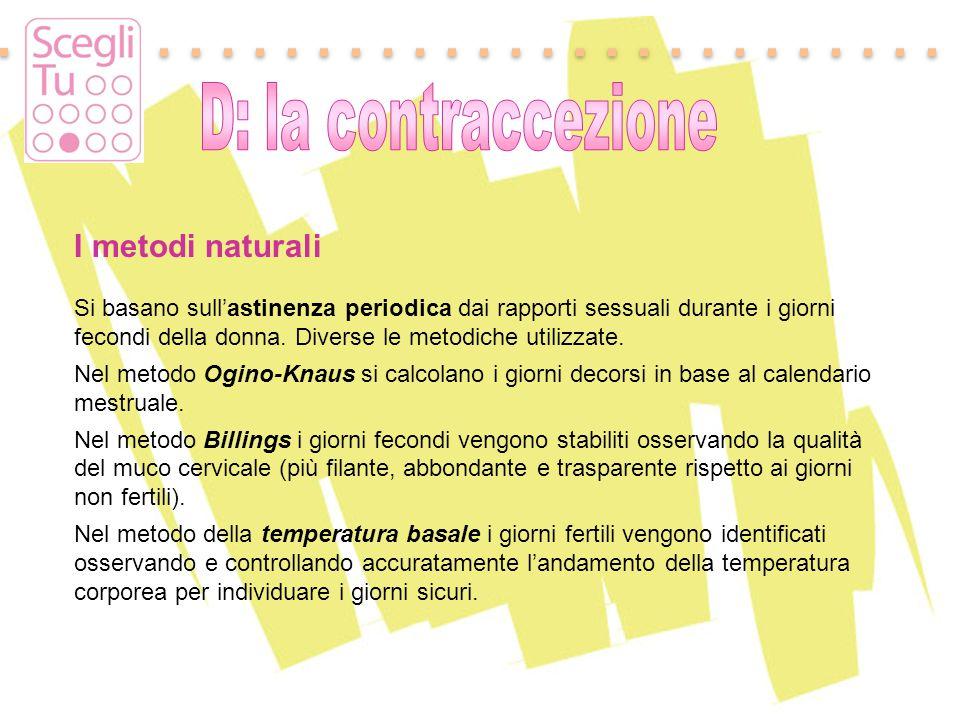 I metodi naturali D: la contraccezione