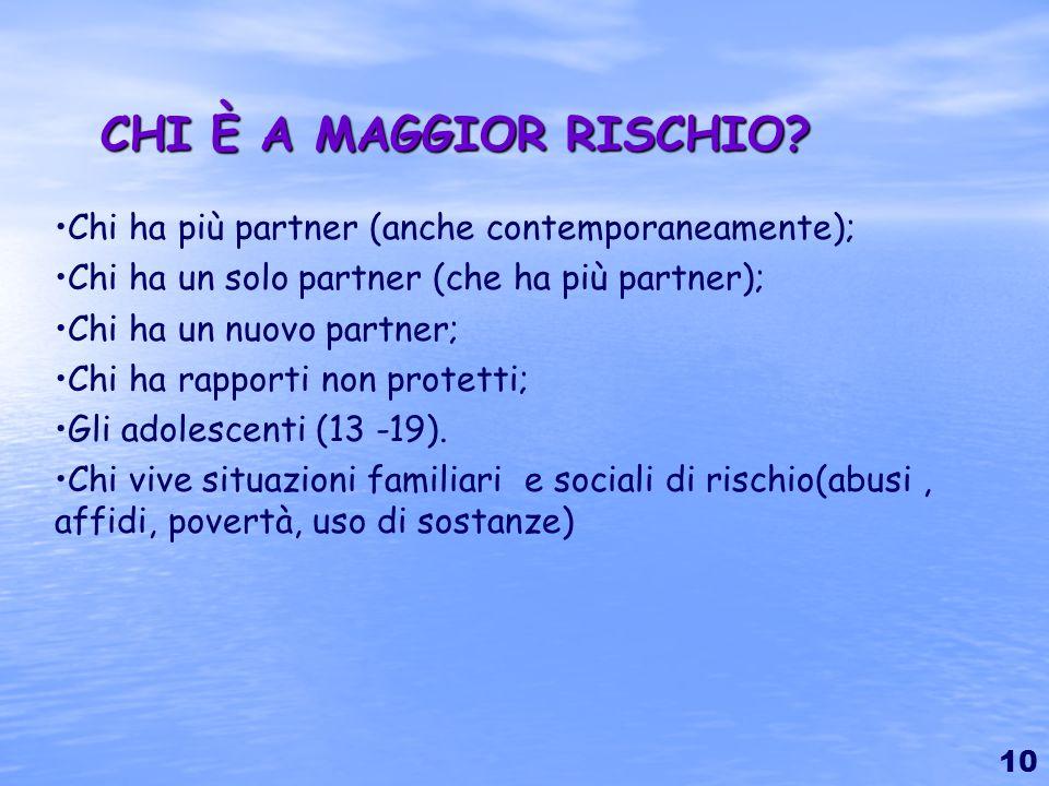 CHI È A MAGGIOR RISCHIO Chi ha più partner (anche contemporaneamente); Chi ha un solo partner (che ha più partner);