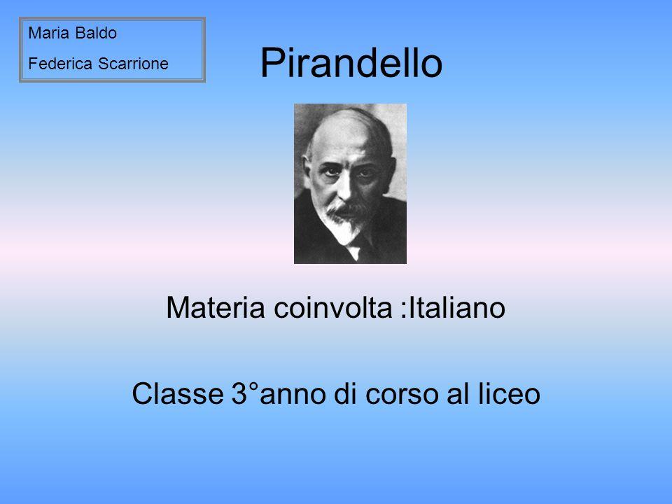 Materia coinvolta :Italiano Classe 3°anno di corso al liceo