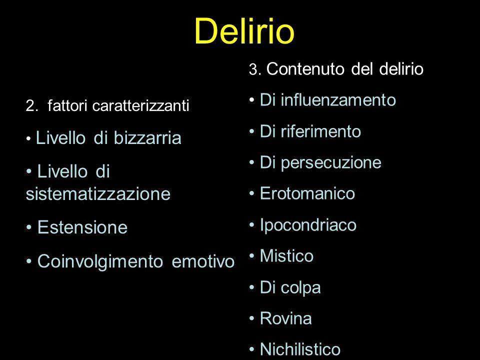 Delirio Livello di sistematizzazione Estensione Coinvolgimento emotivo