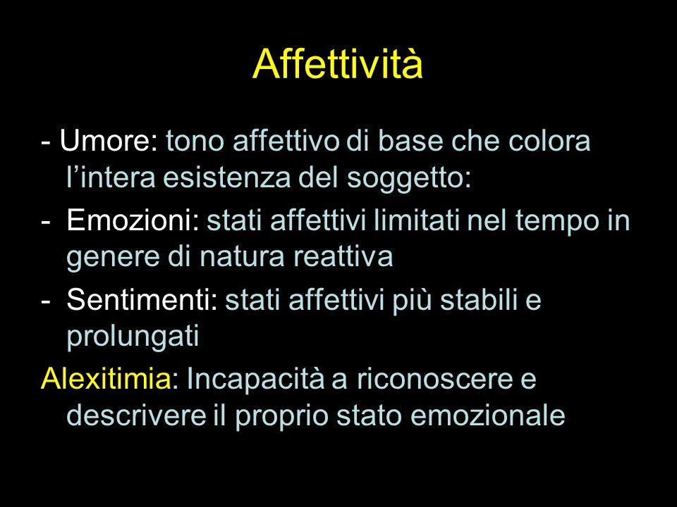 Affettività - Umore: tono affettivo di base che colora l'intera esistenza del soggetto: