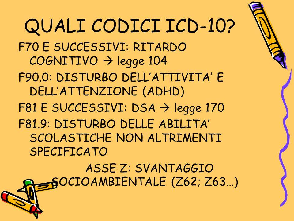 QUALI CODICI ICD-10